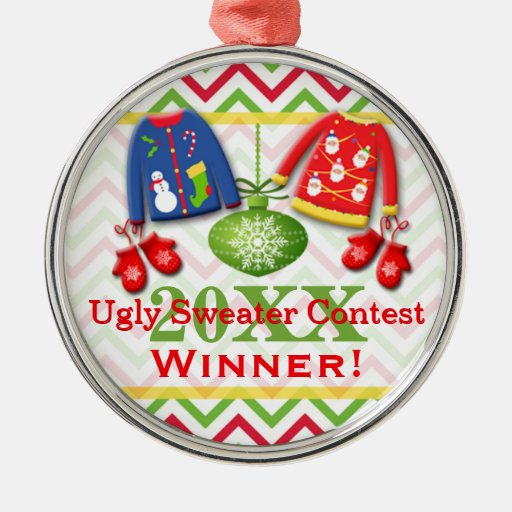 Ugly Christmas Sweater Contest Winner Ornament 8 Zazzle
