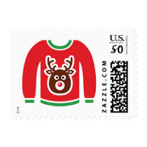 Ugly Christmas Sweater Deer Postage