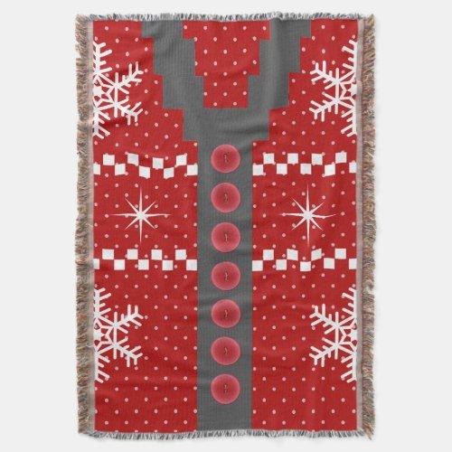 Ugly Christmas Sweater Design Throw