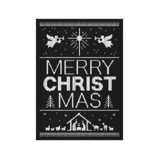 Ugly Christmas Sweater Elegant Black - Christian Canvas Print