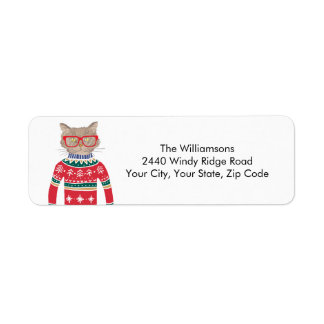 Ugly Christmas Sweater Funny Cat Return Address Label