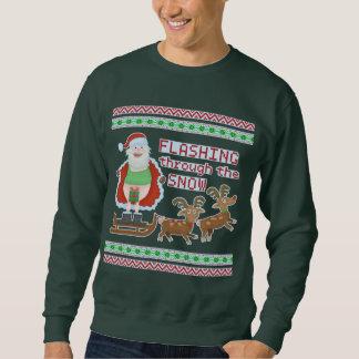 Ugly Christmas Sweater | Funny Santa Flashing Snow