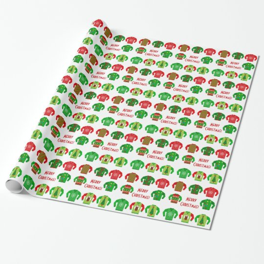Ugly Christmas Sweater Gift Wrap Zazzle Com
