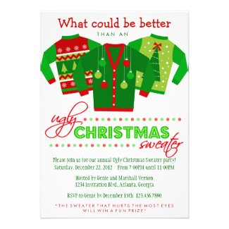 Ugly Christmas Sweater Holiday Party Custom Invite