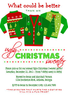 Ugly Sweater Christmas Invitations