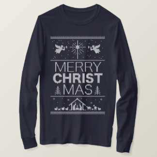Ugly Christmas Sweater Merry Christ Religious Blue