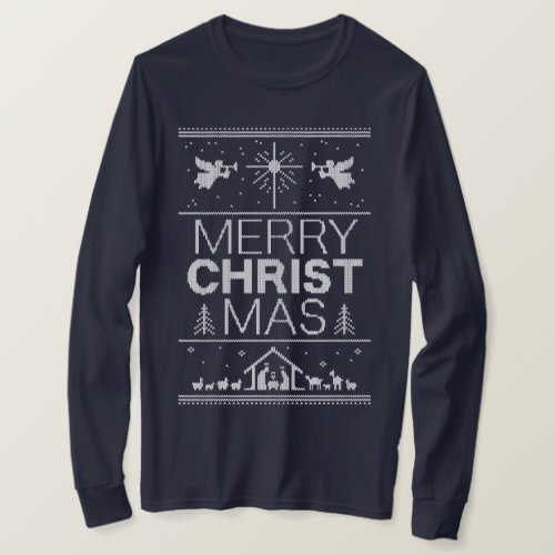 Ugly Christmas Sweater Merry Christ Religious Blue After Christmas Sales 2929