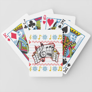 Ugly Christmas Sweater Music Notes Bicycle Playing Cards
