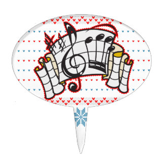 Ugly Christmas Sweater Music Notes Cake Topper
