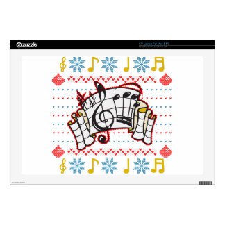 """Ugly Christmas Sweater Music Notes Decal For 17"""" Laptop"""
