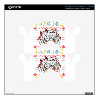 Ugly Christmas Sweater Music Notes Decal For PS3 Controller