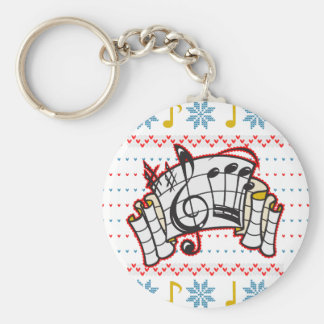 Ugly Christmas Sweater Music Notes Keychain
