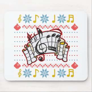 Ugly Christmas Sweater Music Notes Mouse Pad