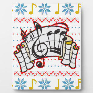 Ugly Christmas Sweater Music Notes Plaque