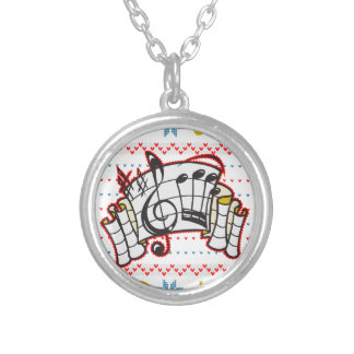Ugly Christmas Sweater Music Notes Silver Plated Necklace