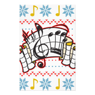 Ugly Christmas Sweater Music Notes Stationery