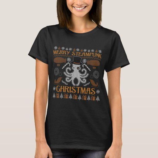 Ugly Christmas Sweater Octopus Steampunk T-Shirt