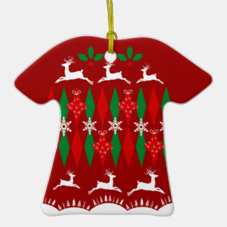 Ugly Christmas Sweater Double-Sided T-Shirt Ceramic Christmas Ornament