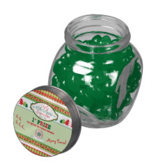 Ugly Christmas Sweater Party 1st Place Prize Xmas Glass Candy Jars at Zazzle