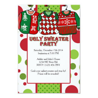 Ugly Christmas Sweater Party 3.5x5 Paper Invitation Card