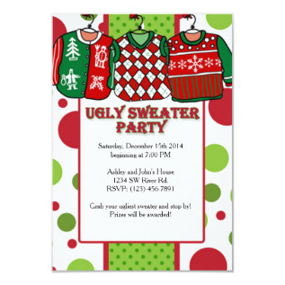 Ugly Christmas Sweater Party Card at Zazzle