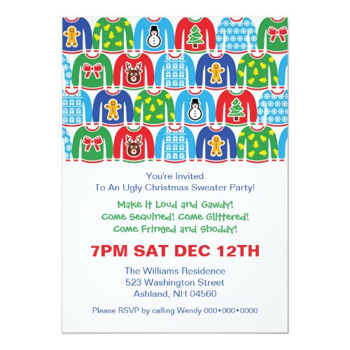 Ugly Christmas Sweater Paper Invitation Card