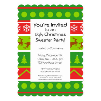 Ugly Christmas Sweater Party Custom Invite