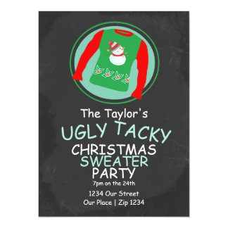 "Ugly Christmas Sweater Party 5.5"" X 7.5"" Invitation Card"