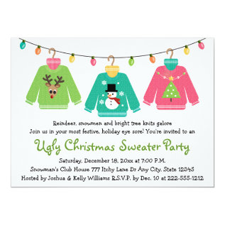 Ugly Christmas Sweater Party Invitations at Zazzle