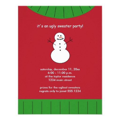 Ugly Christmas Sweater Party Invitations