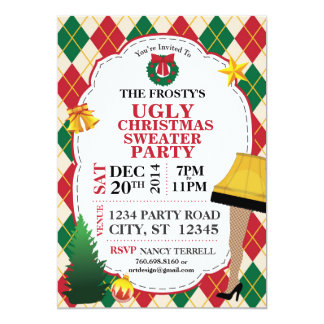 Ugly Christmas Sweater Party Invite (Red/Green)
