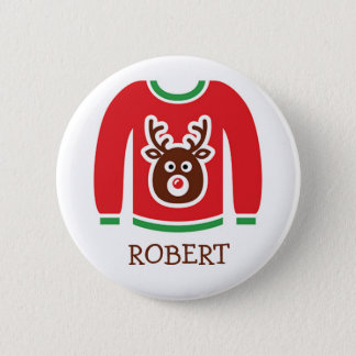 Ugly Christmas Sweater Party Name Tags Button
