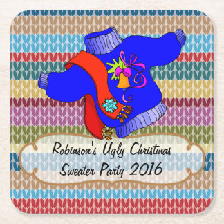 Ugly Christmas Sweater Party Personalized Square Paper Coaster