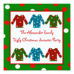 Ugly Christmas Sweater Party Red Green Polka Dots Personalized Invites