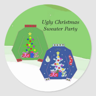 Ugly Christmas Sweater Party Round Stickers