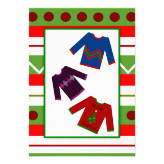 Ugly Christmas Sweater Party Trio Sweaters Personalized Announcements