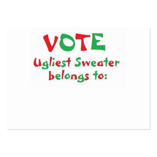"""""""Ugly Christmas Sweater Party"""" Voting Cards Business Card ..."""