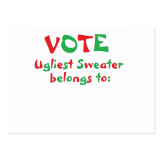 """""""Ugly Christmas Sweater Party"""" Voting Cards Large Business Cards (Pack Of 100)"""