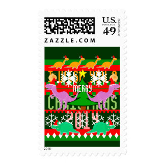 Ugly Christmas Sweater Pattern 2014 Cute Dinosaurs Postage Stamps