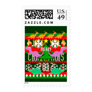 Ugly Christmas Sweater Pattern Cartoon Dinosaurs Stamp