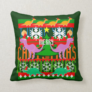 Ugly Christmas Sweater Pattern Cartoon Dinosaurs Throw Pillow