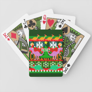 Ugly Christmas Sweater Pattern Dinosaurs Bicycle Playing Cards