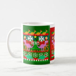 Ugly Christmas Sweater Pattern Dinosaurs Holiday Coffee Mug