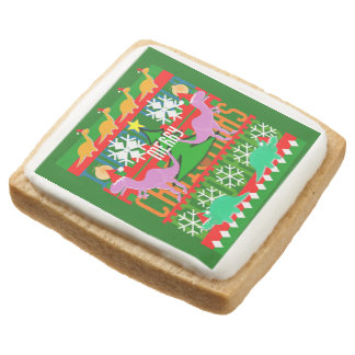 Ugly Christmas Sweater Pattern Kawaii Dinosaurs Square Premium Shortbread Cookie