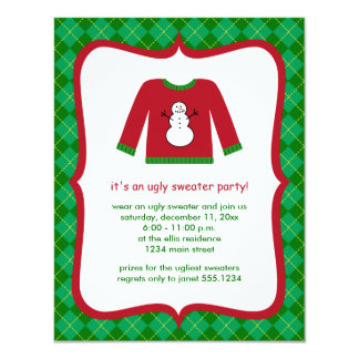 Ugly Christmas Sweater Plaid Party Invitations