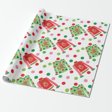 Christmas Themed Ugly Christmas Sweater Polka Dot Wrapping Paper