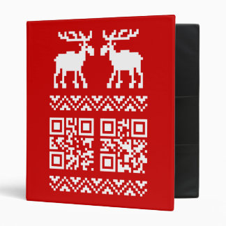 Ugly Christmas Sweater QR Code Happy New Year ! 3 Ring Binder