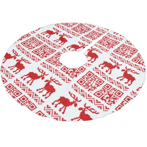 Ugly Christmas Sweater QR Code Happy New Year ! Brushed Polyester Tree Skirt