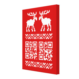 Ugly Christmas Sweater QR Code Happy New Year ! Canvas Print