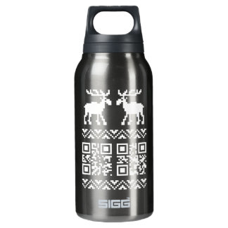 Ugly Christmas Sweater QR Code Happy New Year ! Insulated Water Bottle